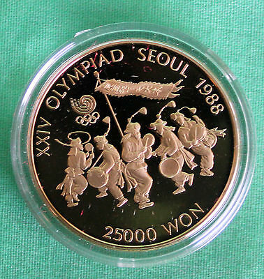 1988 Seoul Olympics Folk Dancing South Korea Proof Gold Coin World Coin 25K Won