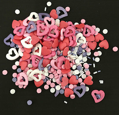 50g MIXED VALENTINE SPRINKLES, EDIBLE CAKE /CUPCAKE DECORATIONS