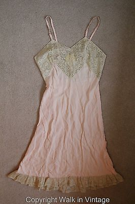 Vintage 40s Lady Elysee 54 Hollywood Glamour Pink Nightgown Lingerie Lace Sz XS