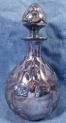 Rare Antique Art Nouveau Heavy Sterling Silver Overlay Crystal Perfume Bottle