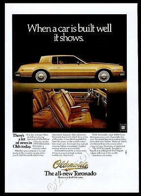 1979 Oldsmobile Toronado gold car photo vintage print ad