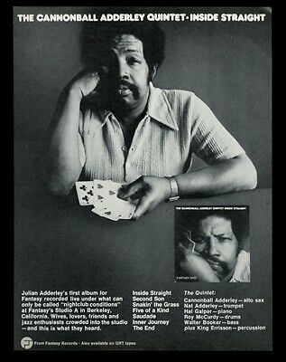 1973 Cannonball Adderley photo Inside Straight album release vintage print ad