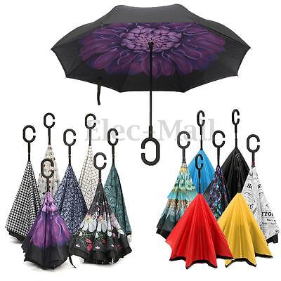 C-Handle Fashion Double Layer Reverse Hand-free Upside Down Windproof Umbrella
