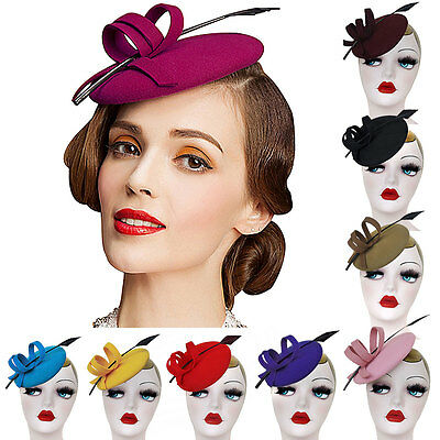 Womens Curly Feather Felt Wool Fascinator Pillbox Tilt Cocktail Formal Hat A145