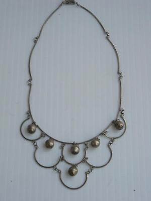 Antique Vintage Mexican Sterling Silver Scalloped Necklace - Beautiful + Old !