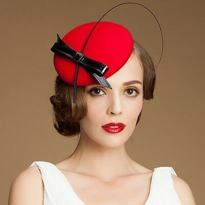 A144 Womens Ladies Bow Feather Felt Wool Fascinator Pillbox Tilt Cocktail Hat