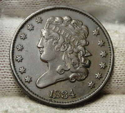 1834 Classic Head Half Cent - Nice Coin - Rare, Only 141,000 Minted (4633)