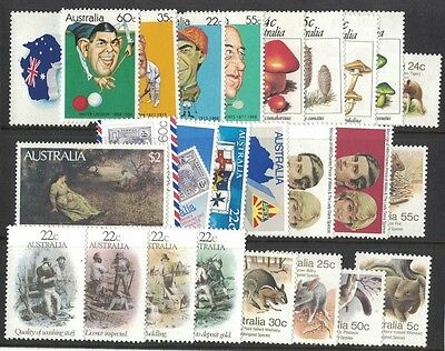 1981 Australia year's complete stamp collection 40 stamps on 2 cards muh
