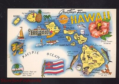 State Of Hawaii State Map Vintage Postcard