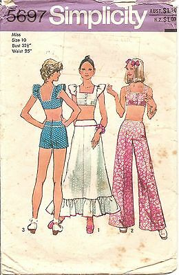 Vintage/retro Simplicity 5697 Sewing Pattern  Top/skirt/wide Leg Pants/shorts 10