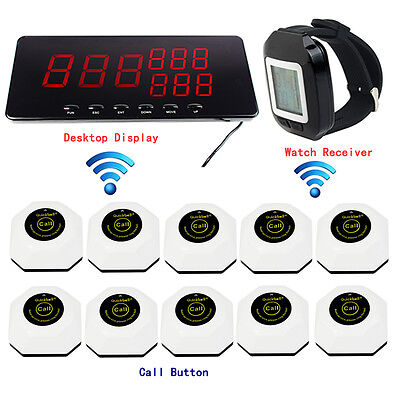 Wireless Restaurant Paging Calling Buttons Pager System w/ Watch Receiver&Host