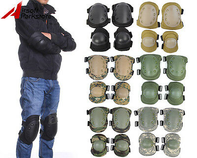 Tactical Airsoft Combat Knee & Elbow Protective Pads Gear Paintball Skateboard