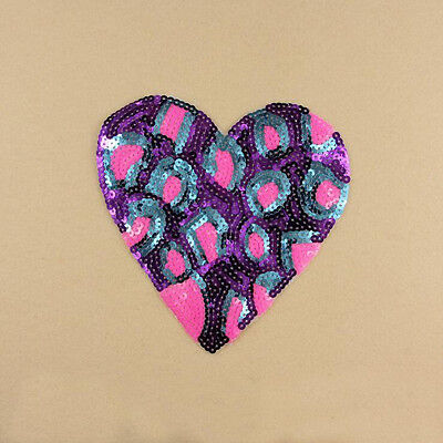 Embroidery Sew Iron on Patch Badge Purple Heart Motif Sequin Dress DIY Applique