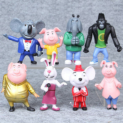 2016 SING THE MOVIE ACTION FIGURE PVC TOY SET OF 8 TOYS Buster Moon Johnny Meena