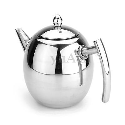 1500ml Stainless Steel Silver Coffee Pot Teapot With Strainer Filter Infuser