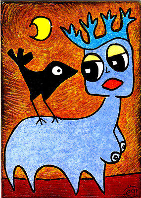 'the queen of absurdity' e9Art ACEO Surrealism Visionary Outsider Art Brut Crow