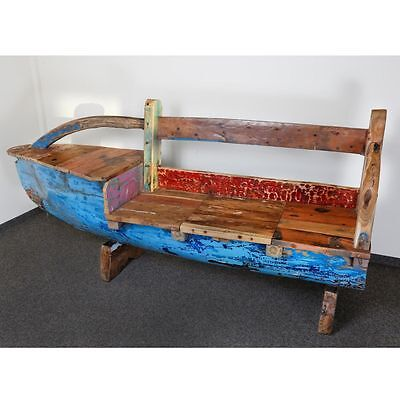 "Fishboat Recycled Fischerboot Teak Bootsbank 219 Cm Bug Links "" Java"" Gartenbank"