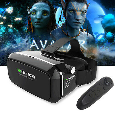 Virtual Reality 3D VR Box Glasses Shinecon Headset For iPhone Android+Remote UK