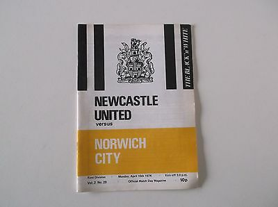 Newcastle United Vs. Norwich City. 1974 First Division Football Programme.