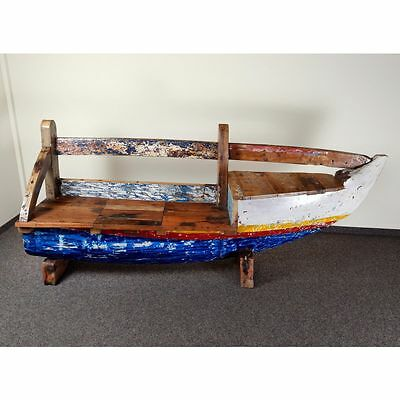 Recycled Teak Fishboat Bank Bootsbank 220Cm Bug Rechts Indoor Outdoor Gartenbank