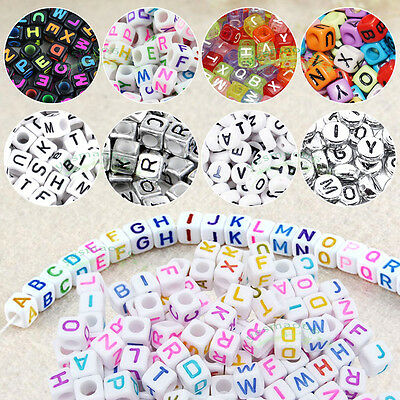 400pcs 6/7mm Flat Round & Cube Mixed Alphabet Acrylic Beads