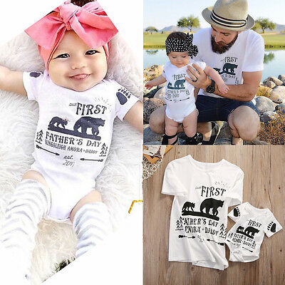 New Father and Son Matching Kids Baby Boy Girls Tops Romper Men T-shirt Clothes