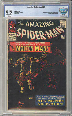Amazing Spider-Man  # 28  1st app of the Molten Man !  CBCS 4.5 scarce book !