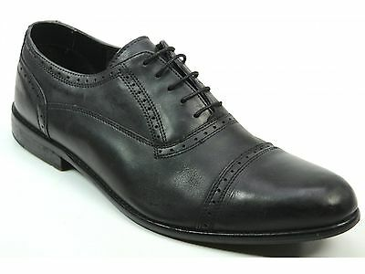 Mens Ikon Hold Cap Oxford Black Lace Up Formal Smart Classic Shoes Uk Size 11