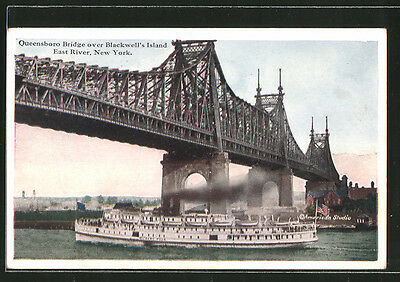 AK New York, NY, Queensboro Bridge over Blackwell´s Island East River, Dampfer
