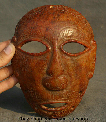 7' ' Collect Antique Chinese Hongshan Culture Old Jade Carving People Face Mask