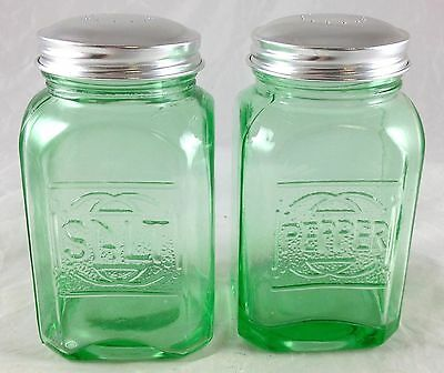 Emerald Green Glass Square Shaped Large Range Size Salt & Pepper Shakers Set