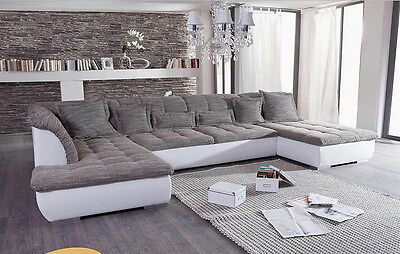 wohnlandschaft mixstoff wei grau sofa fi polsterecke uvp 2799 eur 898 00 picclick de. Black Bedroom Furniture Sets. Home Design Ideas