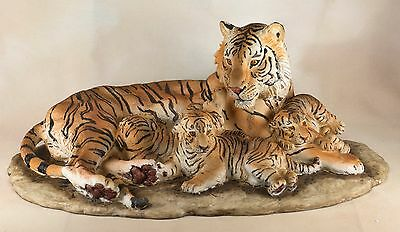 """Tiger With Cubs Large Scale Figurine 18"""" Long - Highly Detailed Resin NIB"""