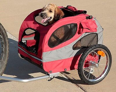 HoundAbout Classic Steel Pet DOG Bicycle Bike Trailer Carrier Medium Red