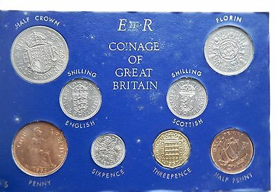 1962 Set of all Issued coins Halfpenny to Halfcrown on Card