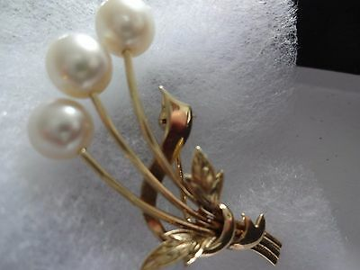 Mikimoto 14ct gold brooch pin hallmarked K14 & M in clamshell 4.7 grams