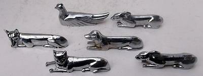 6 French Art Deco Chrome Plated Metal Animal Cutlery Knife Rests