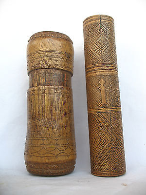 2pc BAMBOO TIMOR TRIBAL BETELNUT CONTAINER - ARTIFACT - late 20th C ,,.