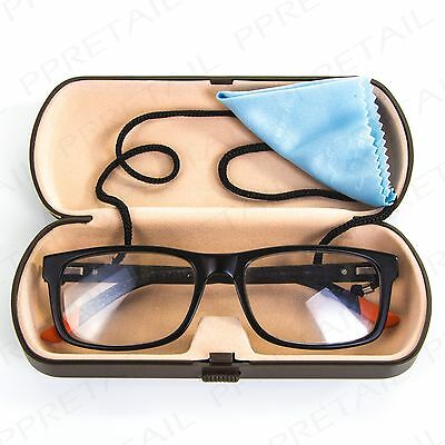 PREMIUM BLACK READING GLASSES HARD CASE Spectacles Storage Protection+Cord/Cloth