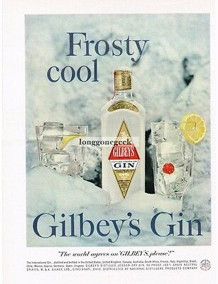"""1959 GILBEY'S Gin """"Frosty Cool"""" On Snow and Ice VTG Print Ad"""
