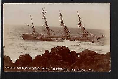 """Coverack - Wreck of the German Barque """"Pindos"""" 1912 - RP postcard by Bragg"""