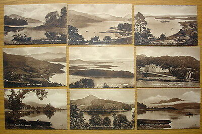 "9 postcards of Loch Lomond. Valentine' s""Sepiatype"" Series inc. Inversnaid Hotel"