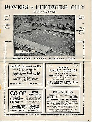 Doncaster v Leicester City 1950/1 - Football Programme