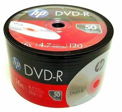 BRAND NEW 50 HP Blank DVD-R DVDR Recordable Logo Branded 16X 4.7GB Media Disc