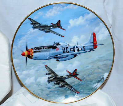Old Crow P-51D Mustang WWII Hamilton Collector Plate From 1991 w/COA