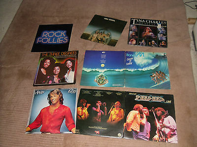 Collection 8 1970s Pop vinyl LPs The Bee Gees Boney M Abba Andy Gibb 3 Degrees