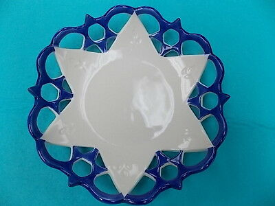 Star Of David Candy Dish-6 Sm.stars Around 1 Lg Star-Decorated W Olive Branches