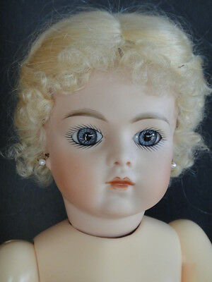 "Antique French Bisque BRU Reproduction doll. 14"".Blue-grey eyes- Made in France"