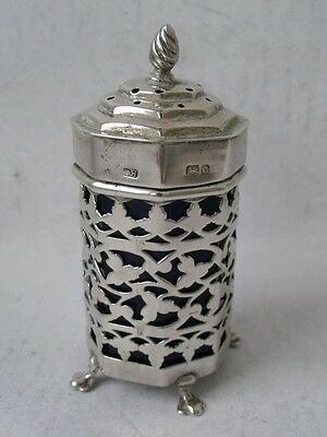 Chunky Antique Pierced Solid Sterling Silver Pepper Pot 1902/ H 7.8 cm
