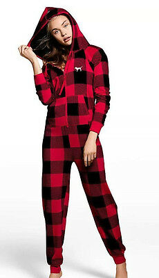 98025eb62db New Victoria s Secret PINK Sherpa Long Jane Pajama Red Plaid Size Small